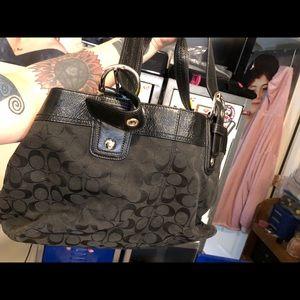 Coach black shoulder bag some stains large purse
